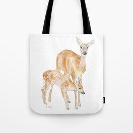 Mother and Baby Deer Watercolor Tote Bag