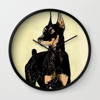 doberman Wall Clocks featuring Doberman by Cassandra Jean