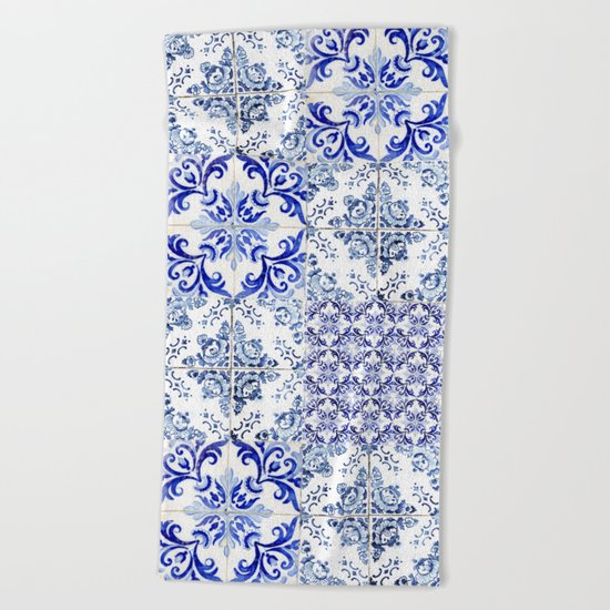 azulejos - Portuguese painted tiles Beach Towel
