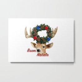 Buon Natale - italiano Merry Christmas Deer Metal Print