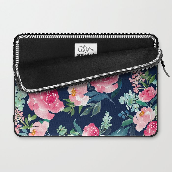 Navy and Pink Watercolor Peony Laptop Sleeve
