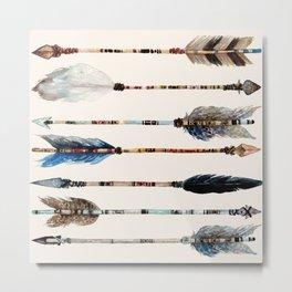 Wander Boho Blue Arrows Metal Print