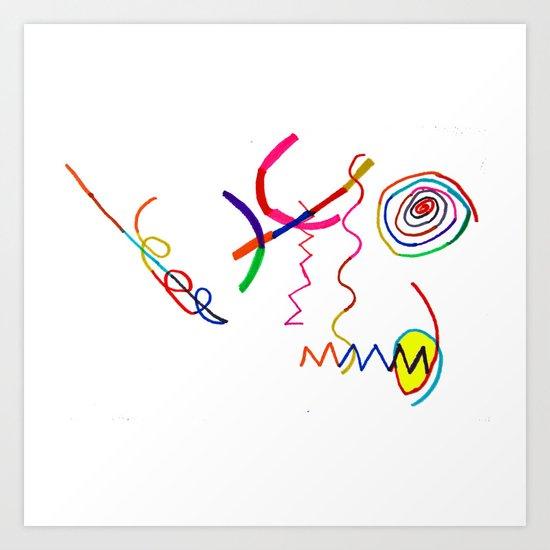 Funky Way Doodle Art Print