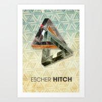 escher Art Prints featuring escher hitch by Vin Zzep