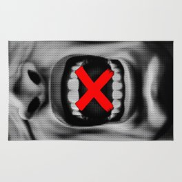 Code of Silence / Halftone portrait of silenced shouting CG man Rug