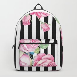 Black white blush pink watercolor floral stripes Backpack