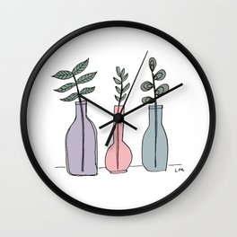 Bottled Plants Trio Wall Clock