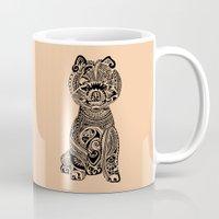 pomeranian Mugs featuring Polynesian Pomeranian by Huebucket