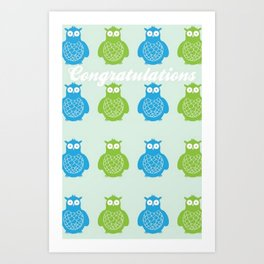 Owls Congratulations Art Print