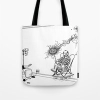 tesla Tote Bags featuring Tesla by Dan Ashwood