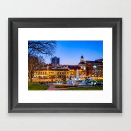 J.C. Nichols Fountain - Kansas City Plaza Lights Framed Art Print