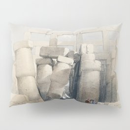 Part of the hall of columns at Karnak Thebes  by David Roberts (1796-1864) Pillow Sham