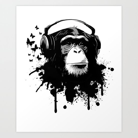 Monkey Business - White Art Print