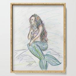 Little Mermaid Folk Tale Colored Pencil Art Drawing Serving Tray
