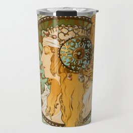 "Alphonse Mucha ""Byzantine Head: The Blonde"" edited Travel Mug"
