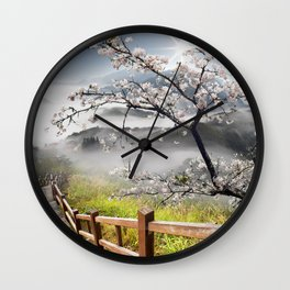 Japanese Cherry Landscape Wall Clock