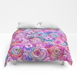 Watercolour & Rainbow Ink Flowers , Colorful Floral Painting Comforters