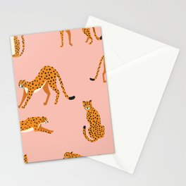 Cheetahs pattern on pink Stationery Cards