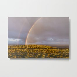 Rainbow and stormy sky at sunset. Sheringham, Norfolk, UK. Metal Print