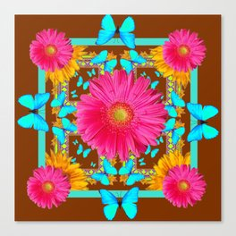 Coffee Brown Pink Flower Blue Butterfly Floral Art Canvas Print
