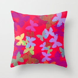 Striped, Plaid and Colorful Butteflies ZFF Throw Pillow