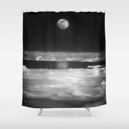 Moon Over Winter Lake Shower Curtain