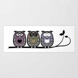 3 little owls Art Print