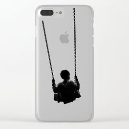 As He Swings (Black and White) Clear iPhone Case