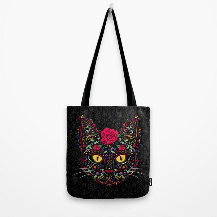 Day of the Dead Kitty Cat Sugar Skull Tote Bag