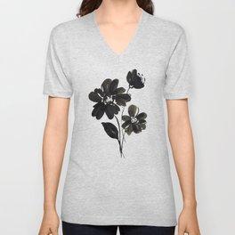 Black and White Ink Flower Unisex V-Neck