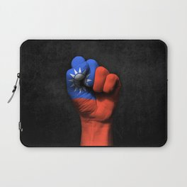 Taiwanese Flag on a Raised Clenched Fist Laptop Sleeve