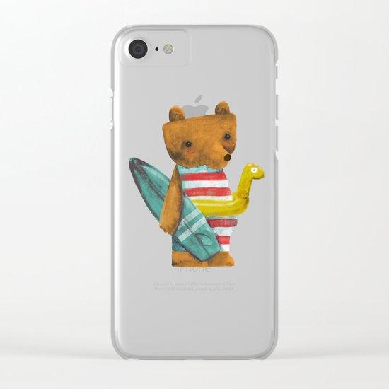 Summer Bear Clear iPhone Case