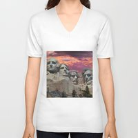 rushmore V-neck T-shirts featuring Great Americans by Exquisite Photography by Lanis Rossi