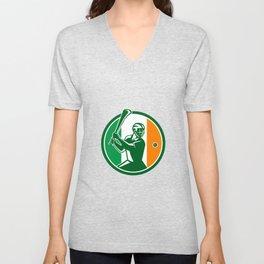 Hurling Ireland Flag Icon Unisex V-Neck