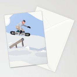 Graphic Snowboarding Art Stationery Cards