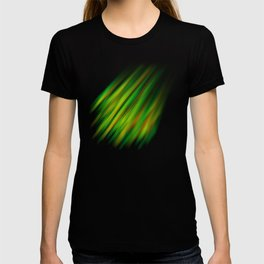 Colorful neon green brush strokes on dark gray T-shirt