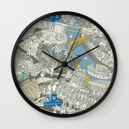 Illustrated map of Berlin-Mitte. Green Wall Clock