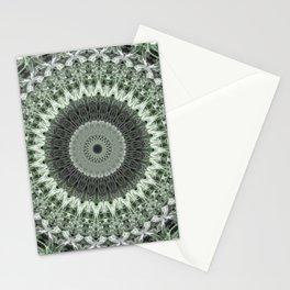 Malachite green and white mandala Stationery Cards