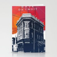 detroit Stationery Cards featuring Save Detroit by The Mighty Mitten - Great Lakes Art