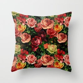 Vintage & Shabby chic - floral roses flowers rose Throw Pillow