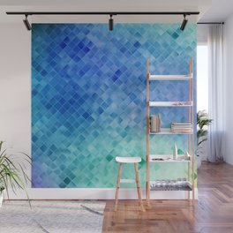 Blue Mosaic Pattern Wall Mural
