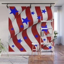 PATRIOTIC AMERICANA JULY 4TH BLUE STARS DECORATIVE ART Wall Mural