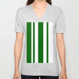 Mixed Vertical Stripes - White and Dark Green Unisex V-Neck