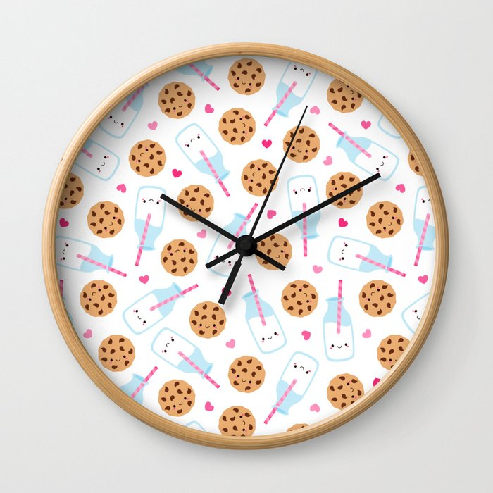 Happy Milk and Cookies Pattern Wall Clock