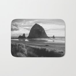 Cannon Beach Sunset - Black and White Nature Photography Bath Mat