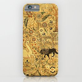 Antique Persian Tabriz Animal Rug Print iPhone Case