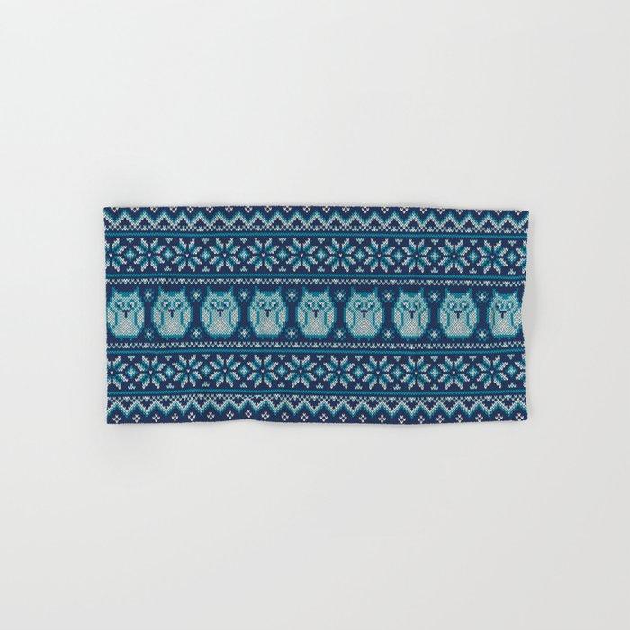 Owls winter knitted pattern Hand & Bath Towel