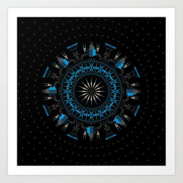 Buffalo Skull and Feathers (Blue) Art Print
