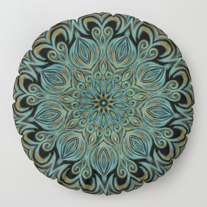 Teal and Gold Mandala Swirl Floor Pillow