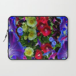 HOLLYHOCKS & MORNING GLORIES COTTAGE BLUE ART Laptop Sleeve